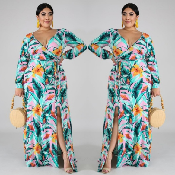PLUS SIZE Floral Tie Waist Wrap Maxi Dress Boutique